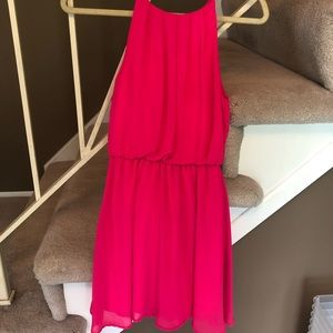 Hot pink high neck dress